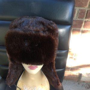 Genuine mahogany ranch mink fur trapper hat size m